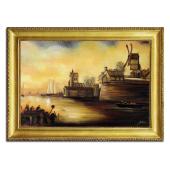 Obraz 75x105cm HOLANDIA ręcznie malowany na płótnie, oprawiony w złotą ozdobną ramę