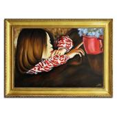Kopia 75x105cm HELENKA Z WAZONEM ręcznie malowana na płótnie, oprawiona w złotą ozdobną ramę