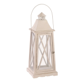 Lampa latarnia REBEKA 30x30x75cm patynowa biel drewno Vintage