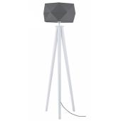 Lampa podłogowa FINJA 173cm białe drewno antracyt klosz