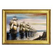 Obraz 75x105cm DŁUGA ŻEGLUGA ręcznie malowany na płótnie, oprawiony w złotą ozdobną ramę