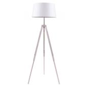 Lampa podłogowa TRIPOD 158cm dąb bielony biały klosz