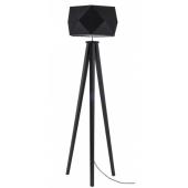 Lampa podłogowa FINJA 173cm czarne drewno czarny klosz