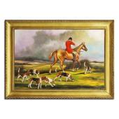 Obraz 75x105cm CZAS POLOWAŃ ręcznie malowany na płótnie, oprawiony w złotą ozdobną ramę