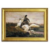 Obraz 75x105cm GALOP ręcznie malowany na płótnie, oprawiony w złotą ozdobną ramę