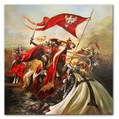 Obraz 130x130cm KRZYŻACY ręcznie malowany na płótnie