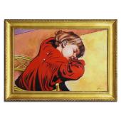 Kopia 75x105cm ŚPIĄCY STAŚ ręcznie malowana na płótnie, oprawiona w złotą ozdobną ramę