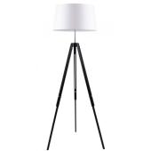 Lampa podłogowa TRIPOD 158cm czarne drewno biały klosz
