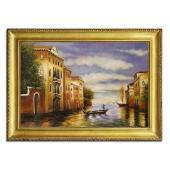 Obraz 75x105cm WENECJA ręcznie malowany na płótnie, oprawiony w złotą ozdobną ramę