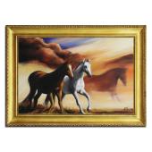 Obraz 75x105cm RUMAKI ręcznie malowany na płótnie, oprawiony w złotą ozdobną ramę