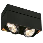 Lampa 117130 spotline KARDAMOD SURFACE SQUARE QRB111 DOUBLE czarna oprawa sufitowa