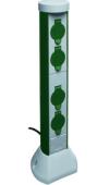 Słupek z gdniazdami 4x 50cm IP44 PCN  szary z kablem 2m idealna do podłączenia kosiarki lampy