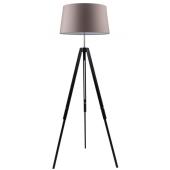 Lampa podłogowa TRIPOD 158cm czarne drewno brązowy klosz