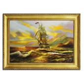 Obraz 75x105cm O ZACHODZIE SŁOŃCA ręcznie malowany na płótnie, oprawiony w złotą ozdobną ramę