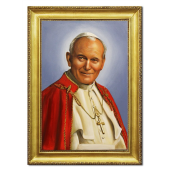 Obraz 63x84cm JAN PAWEŁ II ręcznie malowany na płótnie, oprawiony w złotą ozdobną ramę