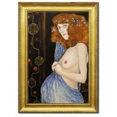 Obraz 75x105cm GUSTAV KLIMT ręcznie malowany na płótnie, oprawiony w złotą ozdobną ramę