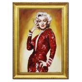 Obraz 75x105cm MARYLIN MONROE ręcznie malowany na płótnie, oprawiony w złotą ozdobną ramę