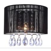Lampa ścienna kinkiet Essence czarny A.9262/1 BK Italux kryształki