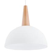 Lampa wisząca SCHOOL biała 30cm E27 drewno szkło