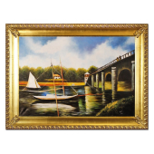 Obraz 75x105cm KRAJOBRAZ Z ŻAGLÓWKĄ ręcznie malowany na płótnie, oprawiony w złotą ozdobną ramę