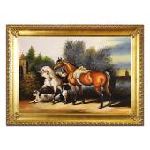 Obraz 75x105cm PEJZAŻ Z KONIAMI ręcznie malowany na płótnie, oprawiony w złotą ozdobną ramę