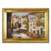 Obraz 75x105cm KWIECISTA ULICA ręcznie malowany na płótnie, oprawiony w złotą ozdobną ramę