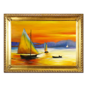 Obraz 75x105cm ZACHÓD SŁOŃCA ręcznie malowany na płótnie, oprawiony w złotą ozdobną ramę