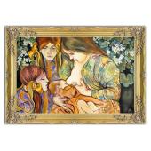 Kopia 75x105cm MACIERZYŃSTWO ręcznie malowana na płótnie, oprawiona w złotą ozdobną ramę