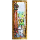 Obraz 75x105cm MAŁE MIASTECZKO ręcznie malowany na płótnie, oprawiony w złotą ozdobną ramę