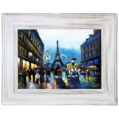 Obraz 76x96cm BŁEKITNY PARYŻ ręcznie malowany na płótnie