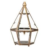 Lampion latarenka antyczna ozdobna 28cm postarzałe złoto