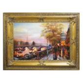 Obraz 87x117cm WIECZORNY PARYŻ ręcznie malowany na płótnie