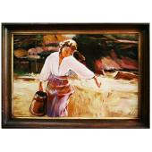 Kopia 75x105cm DZIEWCZYNA Z DZBANEM ręcznie malowana na płótnie