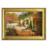 Obraz 75x105cm KWIECISTY TARAS ręcznie malowany na płótnie, oprawiony w złotą ozdobną ramę