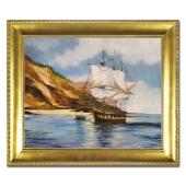 Obraz 53x64cm statek ręcznie malowany na płótnie w złotej ramie