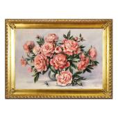 Obraz 75x105cm RÓŻANY BUKIET ręcznie malowany na płótnie, oprawiony w złotą ozdobną ramę