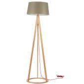 Lampa podłogowa KONAN 173cm dąb szaro-brązowy klosz