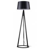 Lampa podłogowa KONAN 173cm czarne drewno czarny klosz