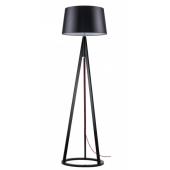 Lampa podłogowa KONAN 173cm czarne drewno czerwony sznur