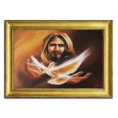 Obraz 75x105cm DUCH ŚWIĘTY ręcznie malowany na płótnie, oprawiony w złotą ozdobną ramę