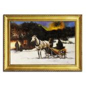 Obraz 75x105cm PRZED CHATĄ ręcznie malowany na płótnie, oprawiony w złotą ozdobną ramę