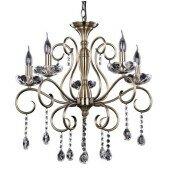 Lampa żyrandol MAESTRA 5xE14 patyna/kryształ