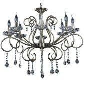 Lampa żyrandol MAESTRA 8xE14 patyna/kryształ