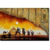 Obraz 60x90cm malowany ręcznie motyw egipski piramida płótno